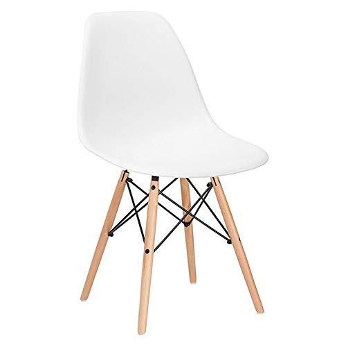 SPRINGOS Milano Silla escandinava | Diseño Retro | 83x46x50 cm | para Sala, Comedor, Cocina, Oficina | Blanco
