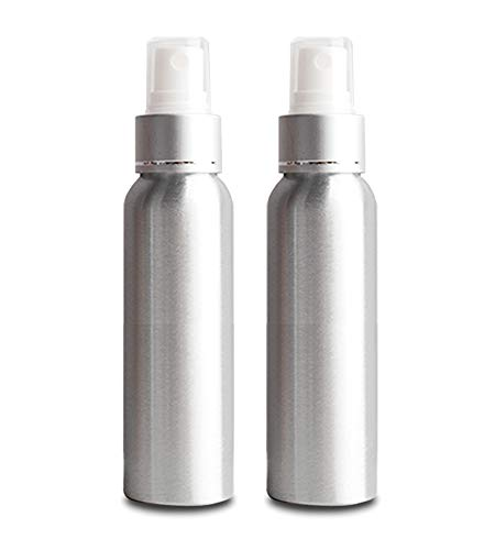Spray Bottles Aluminum Fine Mist, Empty Mini Travel Spraying Bottles 4.0oz /120ml Portable Refillable Liquid Makeup Containers For Disinfectant, Perfume, Essential Oils - 2 Pack