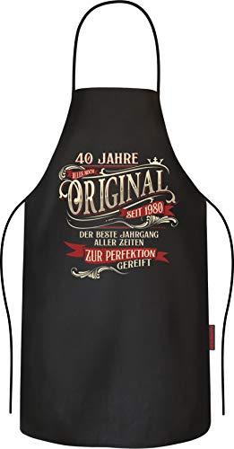 RAHMENLOS Grillschürze Kochschürze Küchenschürze als Geschenk zum 40. Geburtstag Baumwolle