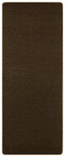 Hanse Home Läufer NASTY Kurzflor Flur Teppich weich (80x300 cm, 100{c9aae55a62e29bfb489f2966333bb17e98e239bf8302454df93960bc787e4ac5}, Polypropylen, Pflegeleicht, Fußbodenheizung geeignet), Uni Braun, 80 x 300 cm