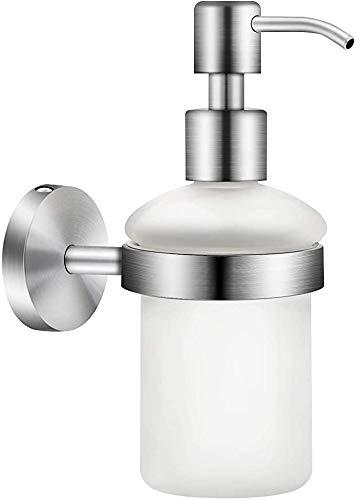 Ysislybin Dispensador de jabón para pared, cristal y acero inoxidable, dispensador de jabón líquido, jabón de manos, accesorios de baño, montaje en pared