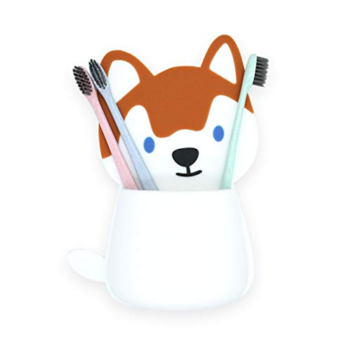 Husky Toothbrush Holder for Kids Wall Mounted - Silicone Grip Technology No Suction Cups, Screws, or Adhesive Needed, Tooth Brush Holders for Bathroom, Mirror Toothbrush Holder Animal, by YOUSURE