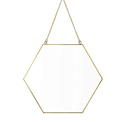"Dahey Hanging Wall Mirror Decor Small Gold Hexagon Mirrors for Home Bathroom Bedroom Living Room,11.81""X10.24"""