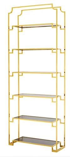 Casa Padrino Regal Schrank Edelstahl Gold mit Rauchglas B 90 x H 230 cm Bücherregal Regal Schrank - Art Deco Möbel