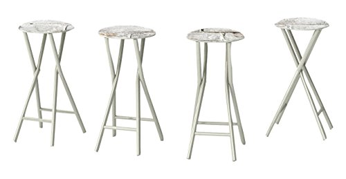 "Best of Times 13169W2408 White CINDERBLOCK 30"" Padded Bar Stools-Set of (4)"