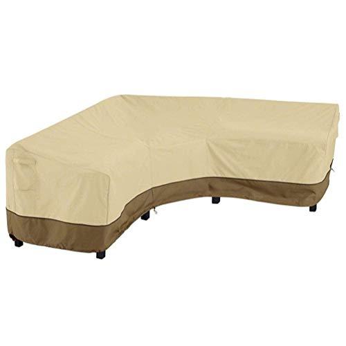 Funda para sofá esquinero, Funda Protectora para sofá en Forma de V, Tela Oxford 420D, Funda Impermeable Anti-UV para Muebles de jardín al Aire Libre, café Beige, 177x85x78cm