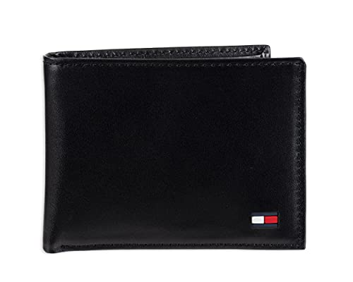 Tommy Hilfiger Men's Leather Wallet – Slim Bifold with 6 Credit Card Pockets and Removable Id Window, Black Dore, One Size
