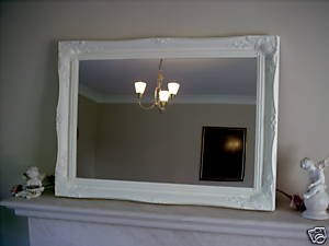 Gloss White Large Shabby Chic Antique Style Mirror - 26' X 36' Overall Size...