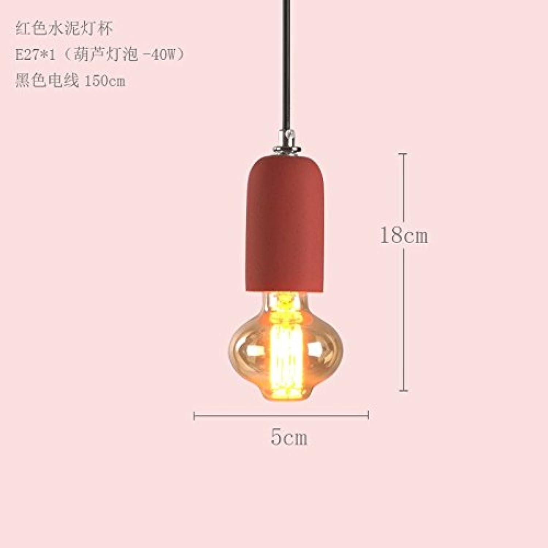BESPD Kreative Zement Barrel Amerikanischen minimalistischen skandinavischen Farbe LED-Lampen von der Decke hngenden roten  Lo