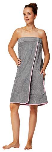 Sowel® Saunakilt Damen, Klettverschluss und Gummizug, Saunatuch, Sarong aus 100% Baumwolle, Knielang, 80 x 130 cm, Grau/Pink
