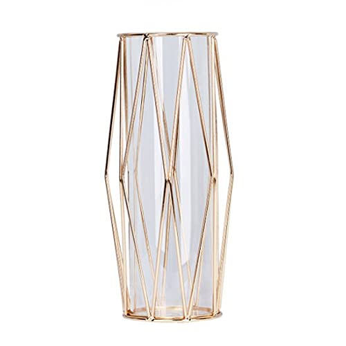 vaas Vaas Nordic Champagne Gold Rose Gold Iron Hollow Vaas Hydroponic Metal Rvs Glass Vaas Home Office Study Decoration Chique antieke vaas (Color : B, Size : Medium)