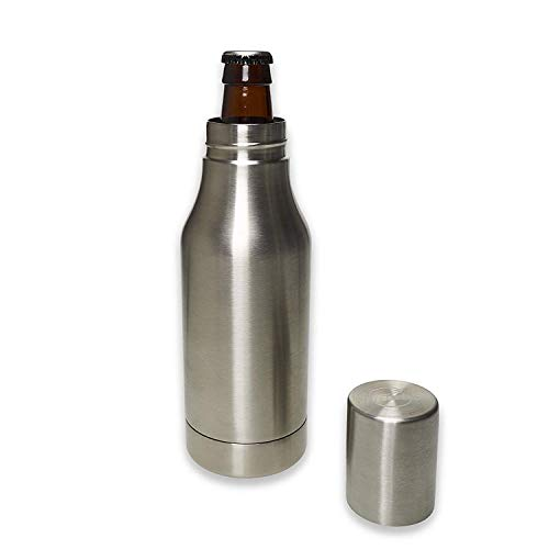Stainless Steel Beer Bottle Holder - Chilled & Frosty Beer - Fits Most Bottles - Cool To-Go - Insulated Tumbler - Tailgates/Camping/Fishing - Double Wall - Bonus Koozie & Keychain Opener