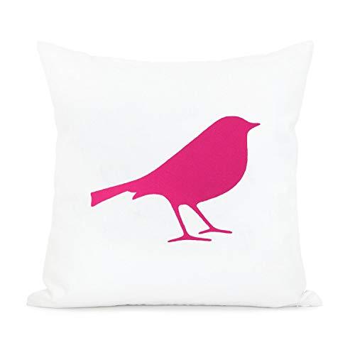 Sp567encer Kussensloop met vogel, roze en wit, decoratieve kussenhoes, magenta fuchsia, kussensloop, babymeisjes, kinderkamerdecoratie