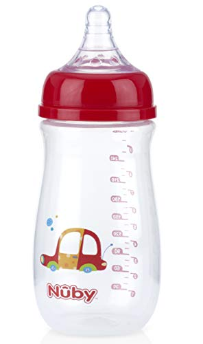 Nuby Wide Neck Bottle with Anti-Colic Air System, Colors/Prints May Vary, 1pk