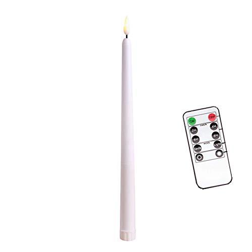 6 Pcs LED Kerzen mit Fernbedienung,Timer und Batterien,Dimmbar Kerzenlichter Flammenlose Weihnachtskerzen für Hochzeit, Geburtstags, Party-Warmes Weiß (6 Pcs, Lange-Weiß)