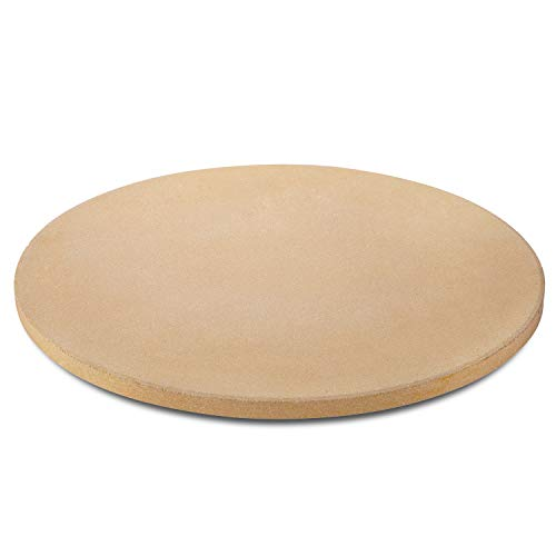 Unicook Pizzastein für Grill und Ofen, 38,1 cm runder Keramik-Backstein, robuste Pizza-Kochpfanne, thermisch stoßfest, ideal für die Zubereitung von knackigen Pizza, Brot und mehr, inklusive Schaber