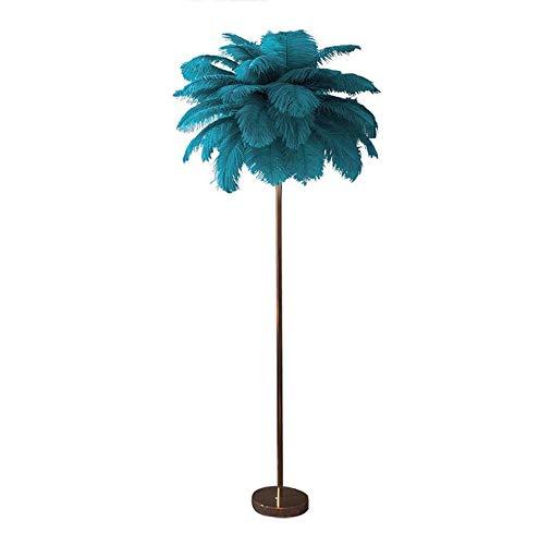 HMKJ Lámpara De Pie De Plumas De Avestruz Azul Luz Nordic Ins Chica Dormitorio Lámpara Vertical De Plumas