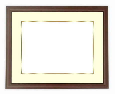 写真用額縁 713/タメツヤ消し写真ワイド六つ切(305×203mm) ガラス マット付(金色細縁付き) マット色:黒