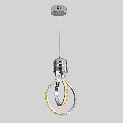 Lámpara de Araña Moderna, Luz de Techo de Cristal LED de 20w 3000k, Lámpara Colgante de Aluminio Para Dormitorio, Cocina, Comedor, Barra de Bar, Pasillo, Sala de Exposiciones, Altura Ajustable