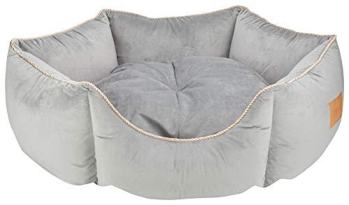 MOOI Crown Hundebett aus kuscheligem Velvetstoff, Füllung aus hautsympathischen 100% Polyester-Watte und Kügelchen, waschmaschinengeeignet bei 30 Degree C, in 3 Größen verfügbar Grau 60 x 68 x 22 cm