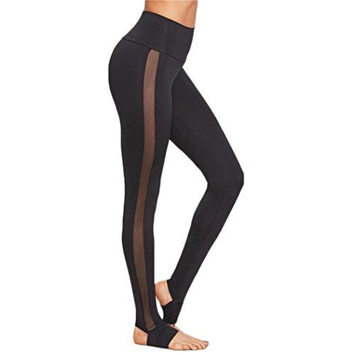 HARRYSTORE 2017 Nuevas mujeres de malla de empalme Yoga Skinny entrenamiento gimnasia pantalones deportivos Fitness (M, Negro)