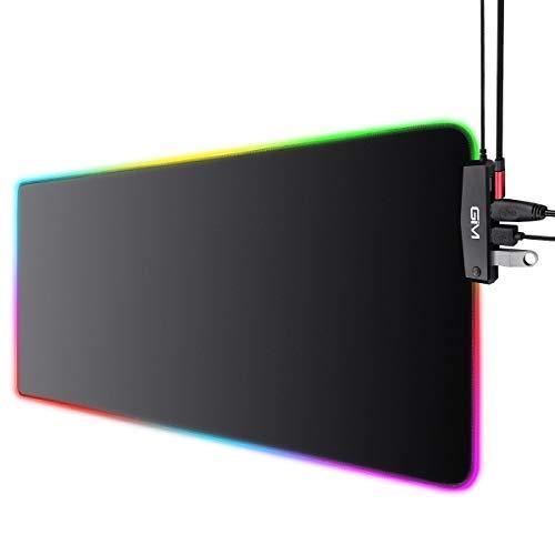 ICETEK Tappetino RGB Gaming Mouse e Tastiera Tappetini XXL con 4 porte USB 14 modalità di illuminazione 10 colori impermeabile antiscivolo per giocatori professionali, PC e laptop