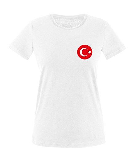 Luckja EM 2016 Trikot Türkei Fanshirt EM02 Damen Rundhals T-Shirt