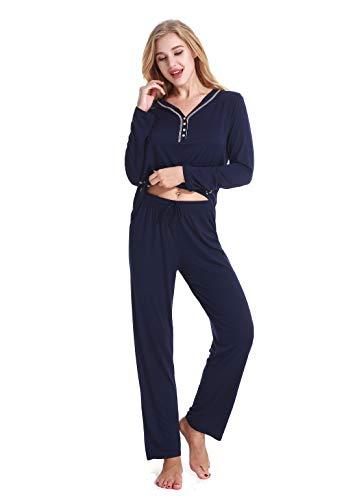 Kuorle Damen Nachtwäsche, Damen Zweiteiliger Pyjama, Pyjama für Damen, V-Ausschnitt Damen Pyjamas Sets mit Langarmshirt und Lange Hose