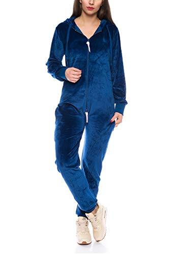Crazy Age Damen Jumpsuit aus Samt (Nicki, Velvet) Wohlfühlen mit Style. Elegant, Kuschelig, Weich. Overall, Ganzkörperanzug, Jogging - Freizeit Anzug, Onesie (Navy, M)