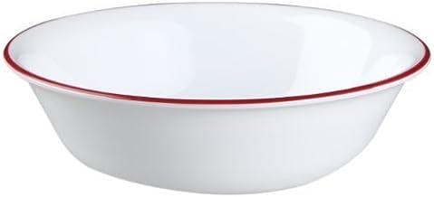 أواني طعام كوريل 532 مل نمط الأسرة الحبوب/الحساء وعاء تقديم الطعام الأبيض مع شريط أحمر، مجموعة من 6 قطع