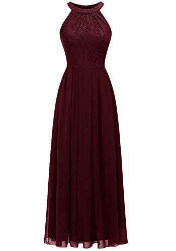 Dressystar 0040 Damen Maxi Lang Abendkleider Elegant Spitzen Ballkleid Ärmellos Hochzeit Burgundy L