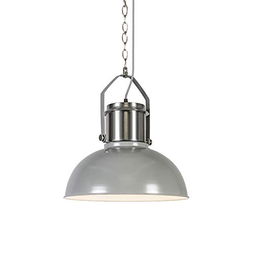 QAZQA - Industrie | Industrial Industrie | Industrial Hängelampe | Pendellampe | Pendelleuchte | Esstisch | Esszimmer grau - Industrial 37 | Wohnzimmer | Küche - Stahl Rund - LED geeignet E27