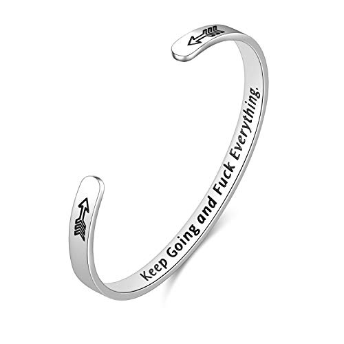 Fodizi Inspirational Bracelets for Women Keep Going Women's Cuff Bracelets Engraved Bracelets Personalized Gift Bracelet Bangle for Girl Mom Boys Men