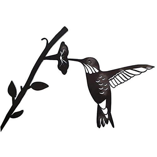 Figura decorativa colgante de silueta de pájaro, decoración de árbol, metal hueco arte de hierro forjado rama de pie esculturas decoración de pared para jardín patio al aire libre