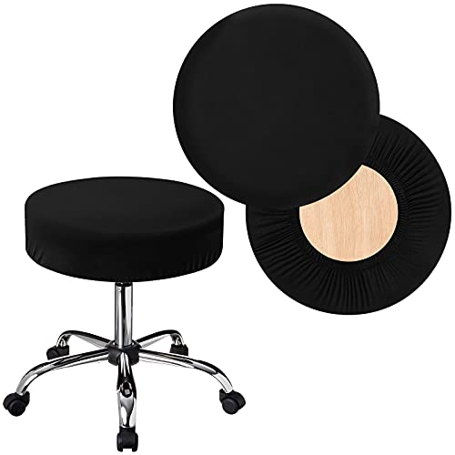 Stretchy Round Bar Stool Covers, 2 Pcs Waterproof Elastic Stool Cover, Soft & Easy to Clean Chair Seat Slipcover Fit for Stool of Dia 12-16 Inch, Black