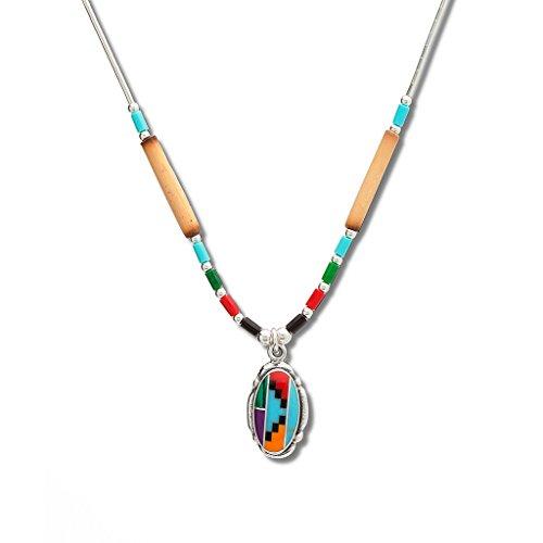 Unbekannt Multicolor Liquidsilber Halskette Westernschmuck Indianerschmuck Kette NW9239X