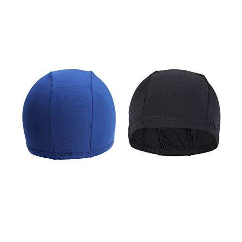 Garneck Gorro de natación para adultos de nailon y spandex, gorro de natación de color puro, para hombre y mujer, piscina, suministros deportivos 2 unidades (azul)