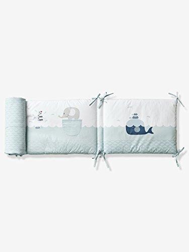 Vertbaudet Nestchen für Babybett Wal, 2 Längen hellblau 180X40