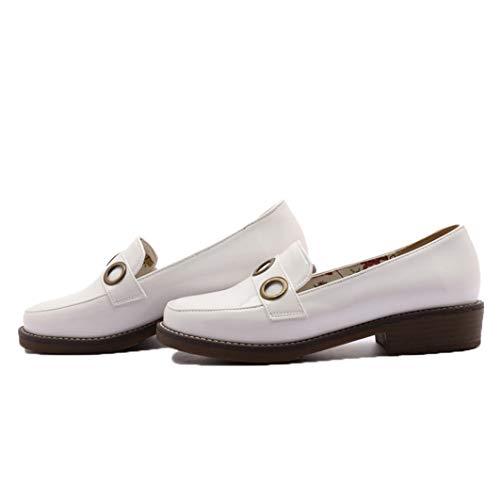 Mocasines de Mujer Decoración de Metal Costura de Color sólido Deslizamiento de PU en Punta Redonda Zapatos Bajos Casuales Planos más el tamaño 42 Zapatos de Charol Femeninos