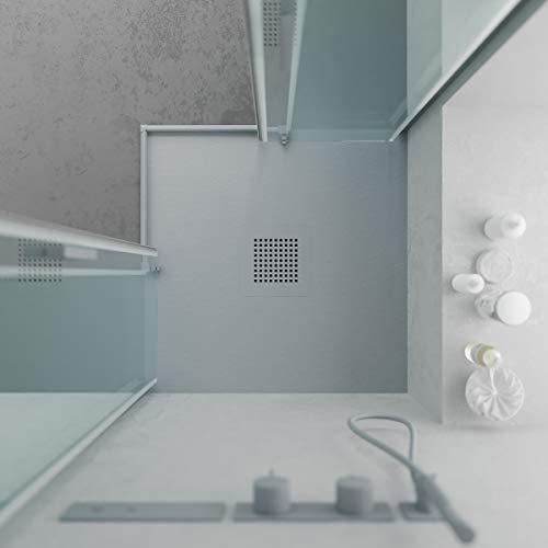 VAROBATH -Platos de ducha cuadrado de Resina QUADRO Gris cemento extraplanos - Antideslizantes C3 y anti-bacterianos - Inlcuye Valvula .Fabricado en España. (70x70)