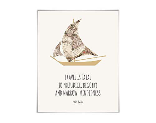 Travel is Fatal to Prejudice Mark Twain Quote Art Print. 2 Sizes. Sailboat World Map Travel Poster Adventure