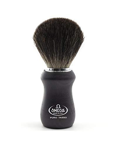 Omega - Brocha para barba con mango negro de madera de fresno