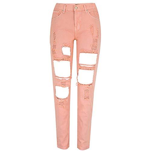 RieKet Women Distressed Boyfriend Ripped Jeans for Juniors (5(Asia 29), Pink)
