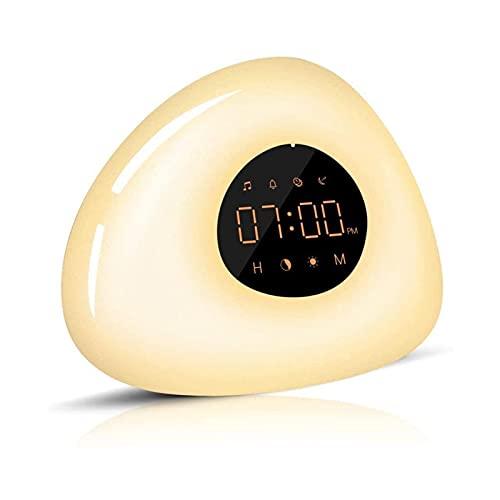ELXSZJ XTZJ Despertar luz Amanecer Despertador Reloj de Alarma múltiples Sonidos de Alarma RGB + Luz de Control de Ojos de Control táctil cálido luz de Noche para niños