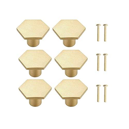 Türknauf, massives Messing, sechseckig, mit Schrauben, 2.7 cm, goldfarben, für Schrank, Schreibtisch, Schublade, Kommode, Schublade, 6 Stück