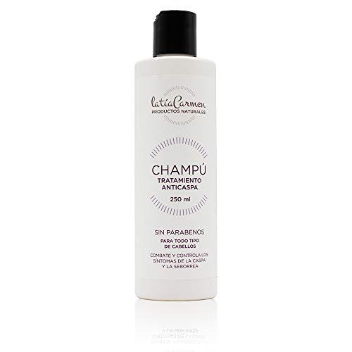 La Tía Carmen - Champú Pelo Tratamiento Anticaspa - Bote de 250 Ml - Combate los Síntomas de la Caspa - PH Neutro - Sin Parabenos - Productos Naturales - Favorece el Crecimiento de Pelo