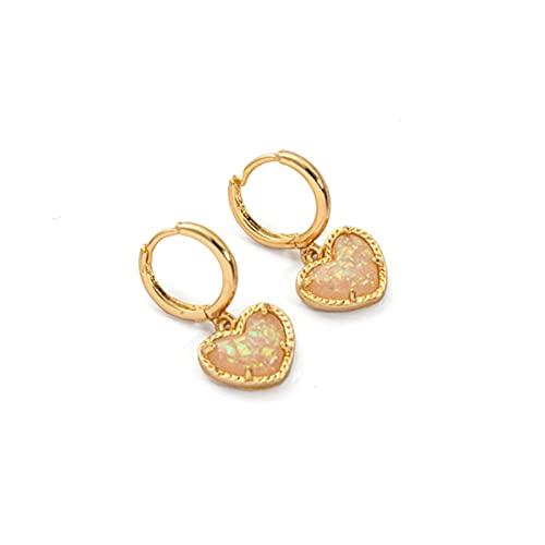 Pendientes de gota de corazón de colores delicados para mujer, pendientes de aro de oro, accesorios de fiesta de compromiso, pendientes de joyería