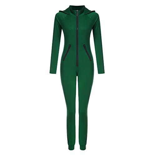 LUCKDE Jumpsuit Damen, Onesie Overall Freizeitanzug Overall Hausanzug Einteiler Strampler Trainingsanzug Pyjama mit Zip
