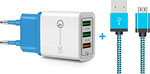 Maju Cable de carga y datos micro USB para teléfono móvil, tableta, Samsung, HTC, LG, Huawei, cargador (azul, 3 metros + cargador)