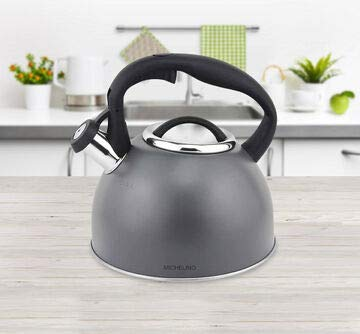 Michelino Vintage Retro Flötenkessel Wasserkessel Edelstal Pfeifkessel Wasserkocher Teekocher Grau mit schwarzem Soft-Touch-Nylon-Griff